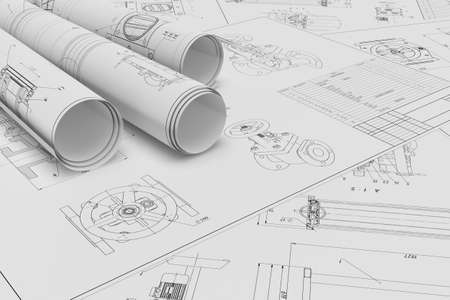 Illustration of roll and flat technical drawing Stok Fotoğraf
