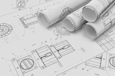 Illustration of roll and flat technical drawing Stock Photo