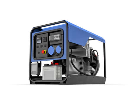 Three-dimensional illustration of portable gasoline generator isolated on a white background