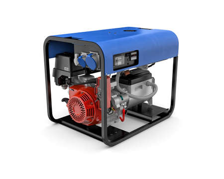 immovable: Three-dimensional illustration of portable gasoline generator isolated on a white background