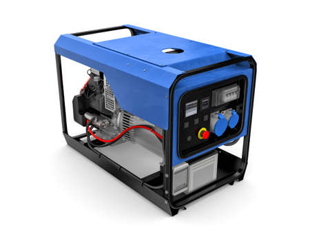 electric motor: Three-dimensional illustration of portable gasoline generator isolated on a white background