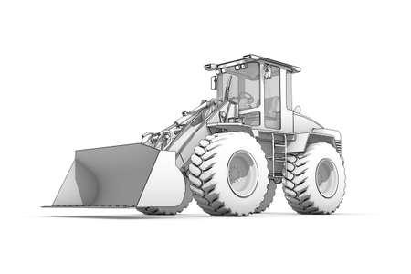 Three-dimensional illustration of black-and-white sketch of excavator illustration