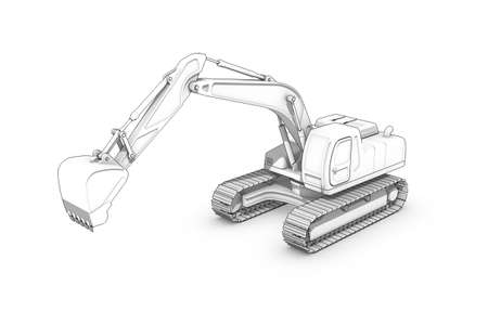 Three-dimensional illustration of black-and-white sketch of excavator Imagens