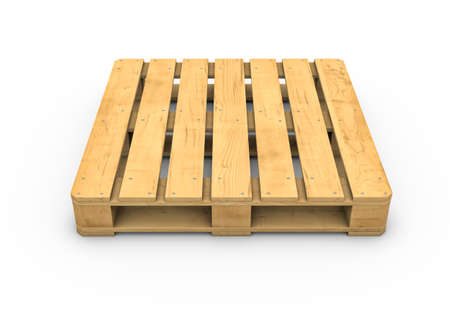 threedimensional: Three-dimensional illustration of wooden pallet isolated on a white background