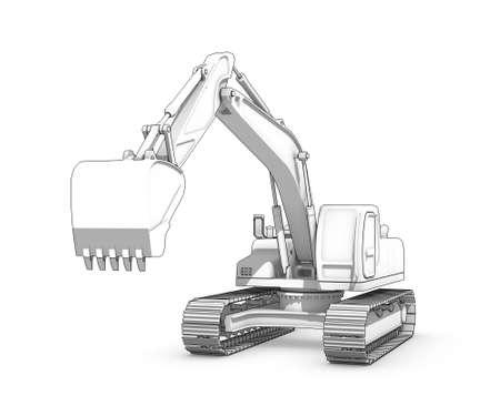 Three-dimensional illustration of black-and-white sketch of excavator Banco de Imagens