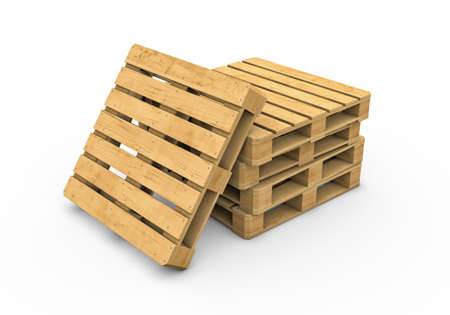 Three-dimensional illustration of wooden pallet isolated on a white background