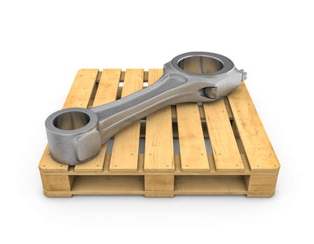 connecting rod: Three-dimensional illustration of connecting rod on wooden pallet on white background Stock Photo