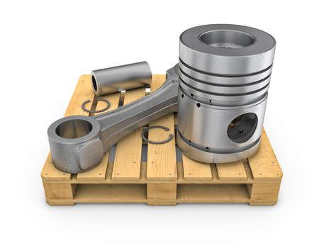 Three-dimensional illustration of piston on wooden pallet on white background illustration