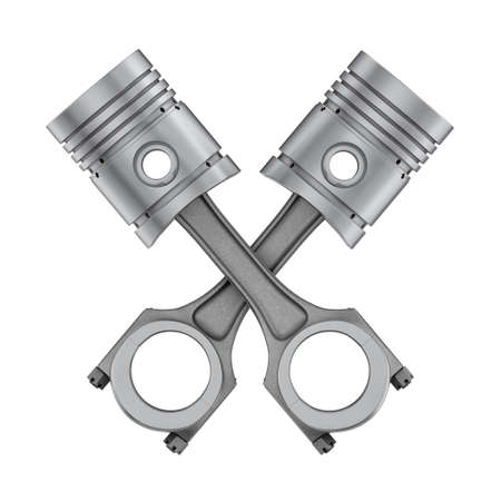 connecting rod: Three-dimensional illustration of piston with connecting rod isolated on a white background