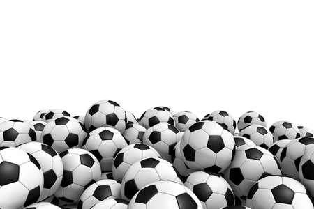 サッカー ボールの白い背景で隔離の立体イラストレーション