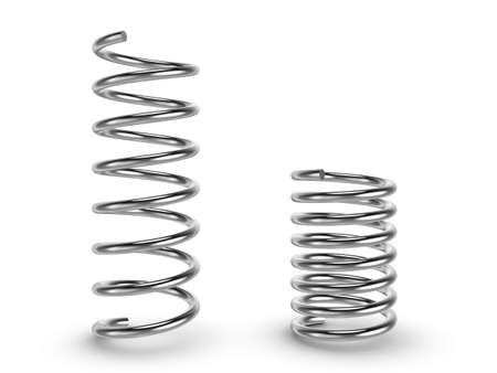 coil car: Three-dimensional illustration of metal spring isolated on a white background Stock Photo