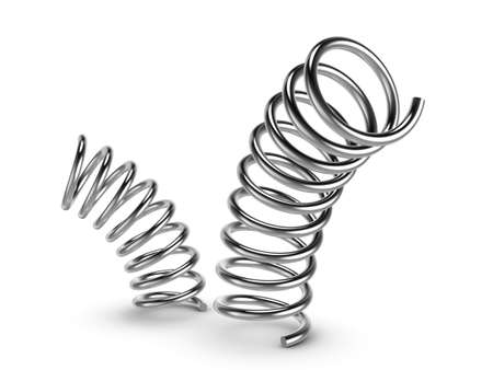 Three-dimensional illustration of metal spring isolated on a white background Standard-Bild