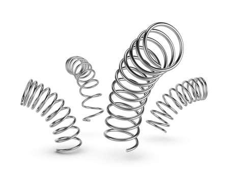 coil: Ilustración tridimensional de resorte de metal aislado en un fondo blanco