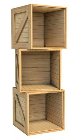 木箱は、白い背景で隔離の立体イラストレーション