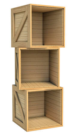 Three-dimensional illustration of wooden box isolated on a white background Standard-Bild