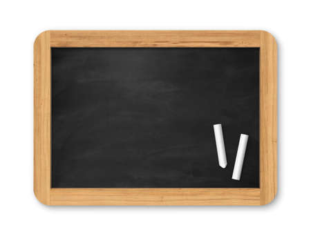 Blank black chalkboard with piece of chalk. Background and texture. School board on gray background Banco de Imagens