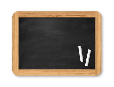 Blank black chalkboard with piece of chalk. Background and texture. School board on gray background Standard-Bild