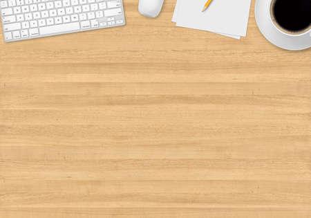 一杯のコーヒー、紙、鉛筆、マウス、キーボードでのトップ オフィスのテーブル 写真素材