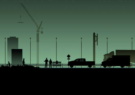 end of road: Silhouette. Road closed, dead end, road works. Construction. On green background Stock Photo