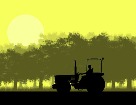 yellow tractor: Illustration silhouette of tractor in forest on yellow background