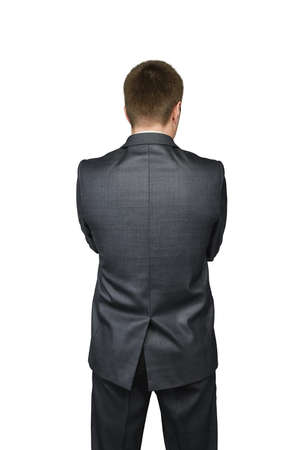 Businessmans back in a suit isolated on white background . Financial concept. photo
