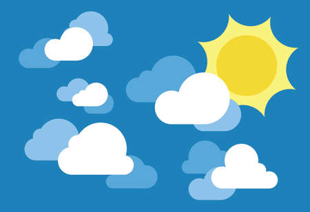 simple sky: Blue clear sky with sun and clouds. Simple clean background illustration