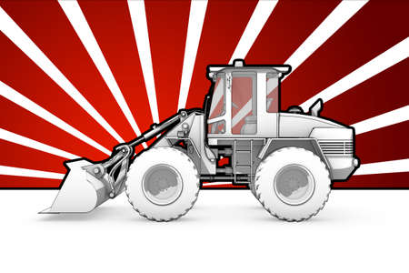 Illustration of black and white ink bulldozer pop art illustration