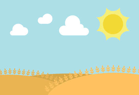 clouds scape: The sun is shining on a blue sky surrounded by few clouds in the desert Stock Photo