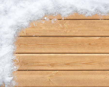 snow covered: Top view of wooden surface covered with snow Stock Photo