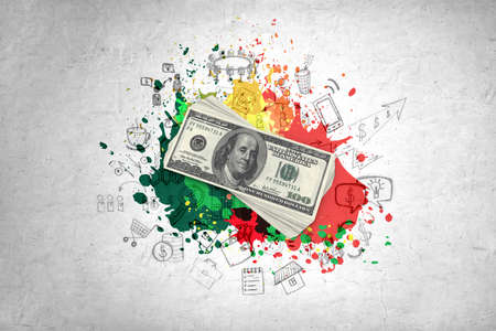 dollar bills: A stack of one hundred dollar bills, colorful splatters and doodles on grey background Stock Photo