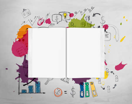business book: Top view of an open book full of bright ideas for business Stock Photo