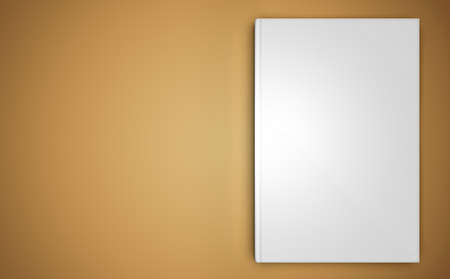 blank book: A mock-up of a close book on beige background, top view