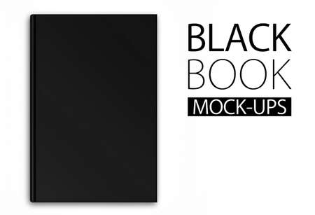 diary cover design: Mock-up of a black book on white background, top view