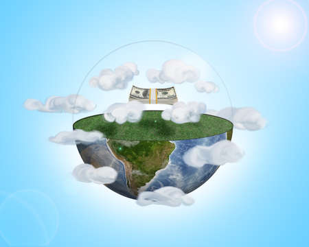 wad: A wad of dollars are flying above a half of the Earth among the clouds