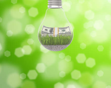 green energy: A light bulb with grass and a wad of dollars inside on a green background