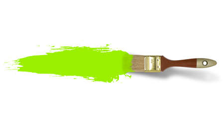 wide  wet: Brush with green paint stroke on white background Stock Photo