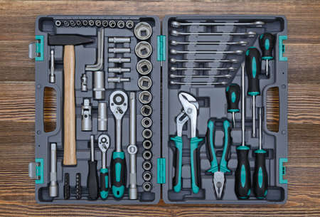 Open toolbox with different instruments on workbench Banco de Imagens