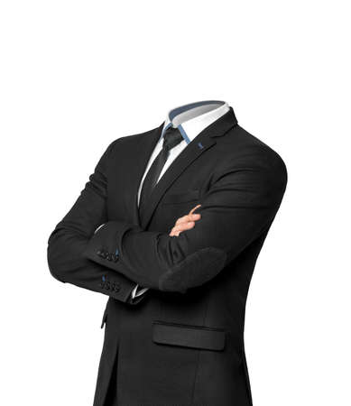 work clothes: Businessman without heat isolated on a white background.  Empty business suit concept Stock Photo