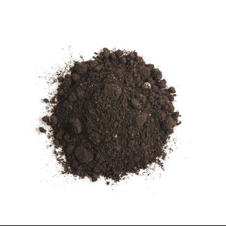 a pile: Heap of soil humus, isolated on white background. Pile of black earth.