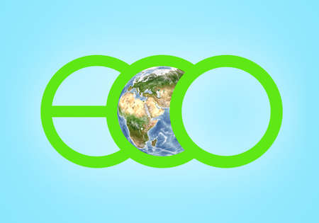 orthographic symbol: Large green letters spelling ECO closeup and a globe illustration in the centre of the picture. EcoPlanet.