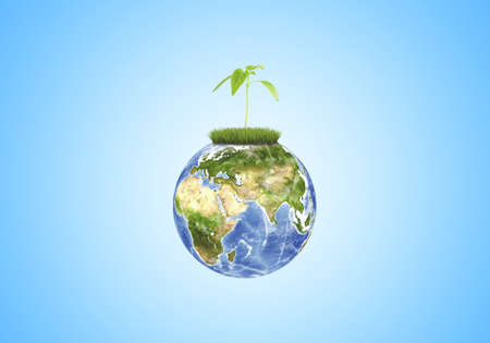 orthographic symbol: A green sprout growing on a globe close-up on a blue background.