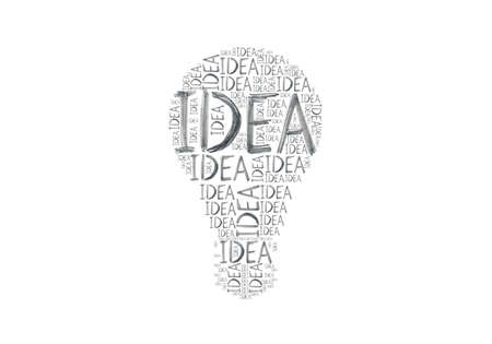 newness: Hand-drawn words Idea different size written many times making a symbol of a light bulb isolated on a white background. Stock Photo