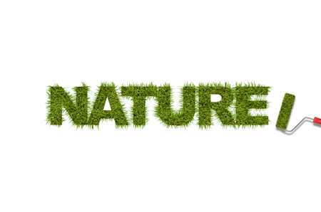 orthographic symbol: Green grass word written by roller isolated on a white background