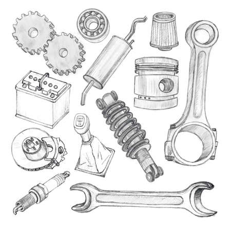 car engine: Sketch of hand drawn doodles of car tools and related with it signs and symbols isolated on white background
