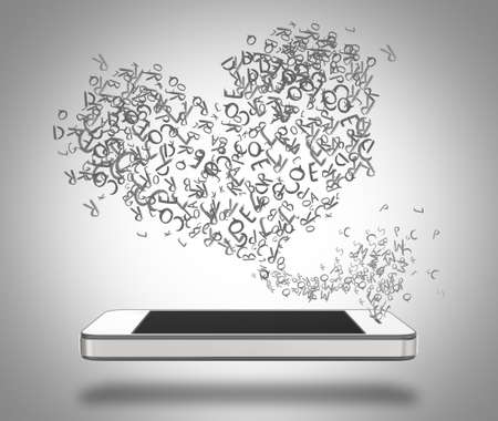 emanating: Three-dimensional illustration of smartphone with blank screen and heart shaped words emanating from it.