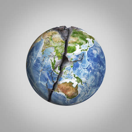 Three-dimensional illustration of damaged Earth planet with crack.