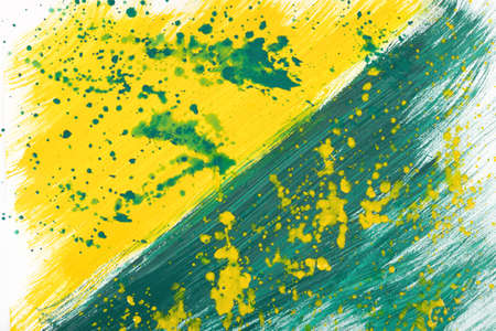 pictured: Yellow-green abstract hand-painted gouache brush stroke daub background texture