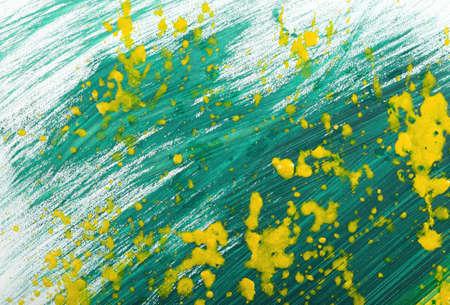 gouache: Yellow-green abstract hand-painted gouache brush stroke daub background texture