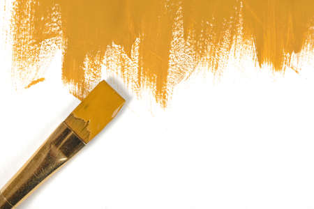 daub: Color of mustard gouache hand-painted daub with used paint brush