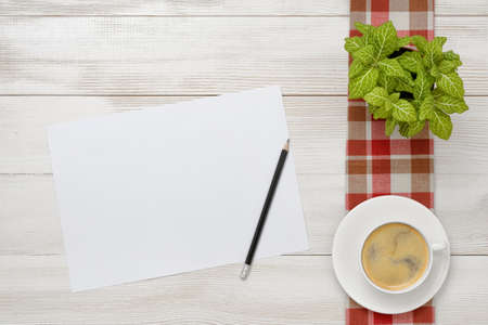 pencil plant: Cup of coffee and indoor plant are on a checkered tablecloth with white paper and pencil next to them. Top view. Workplace of office man. Willingness to work overtime. Increasing productivity in the mornings. Keeping healthy. Contribution to wellbeing. Re Stock Photo